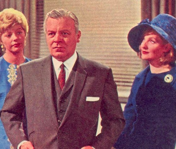 The Power Game Patrick Wymark as Sir John Wilder flanked by the two women in his life. His wife Pamela (played by Barbara Murray) and his mistress Susan Weldon (Rosemary Leach)