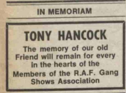Tony Hancock In Memoriam from the Gang Show in The Stage.