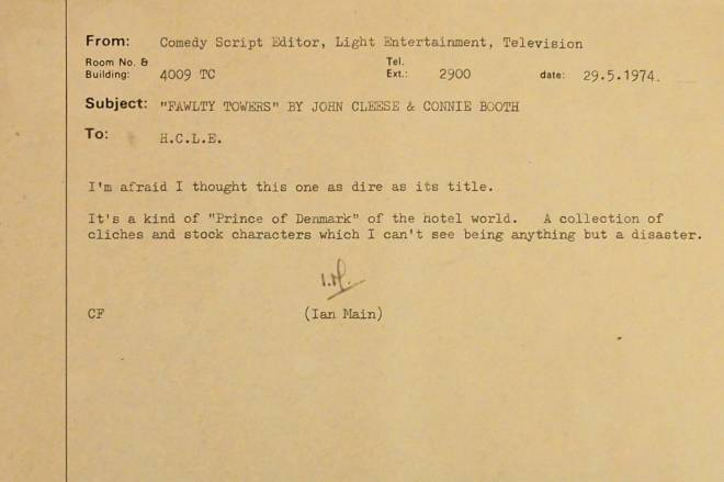 Fawlty Towers Memo